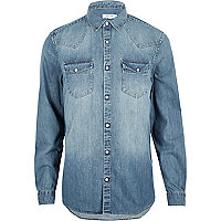 Blue casual western denim shirt