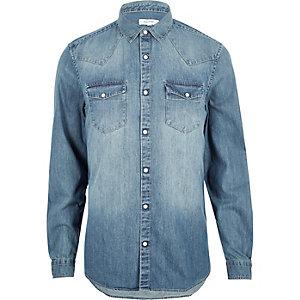 Blue casual western denim shirt