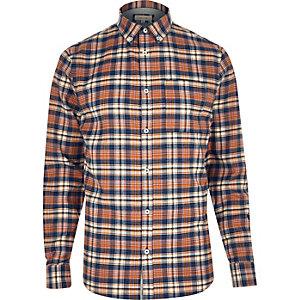Oranje geruit flanellen overhemd