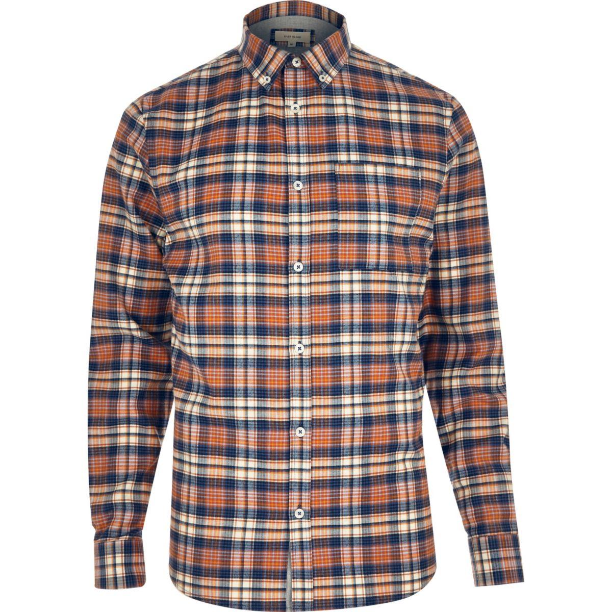 Orange check flannel shirt