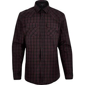 Chemise à carreaux bordeaux style western