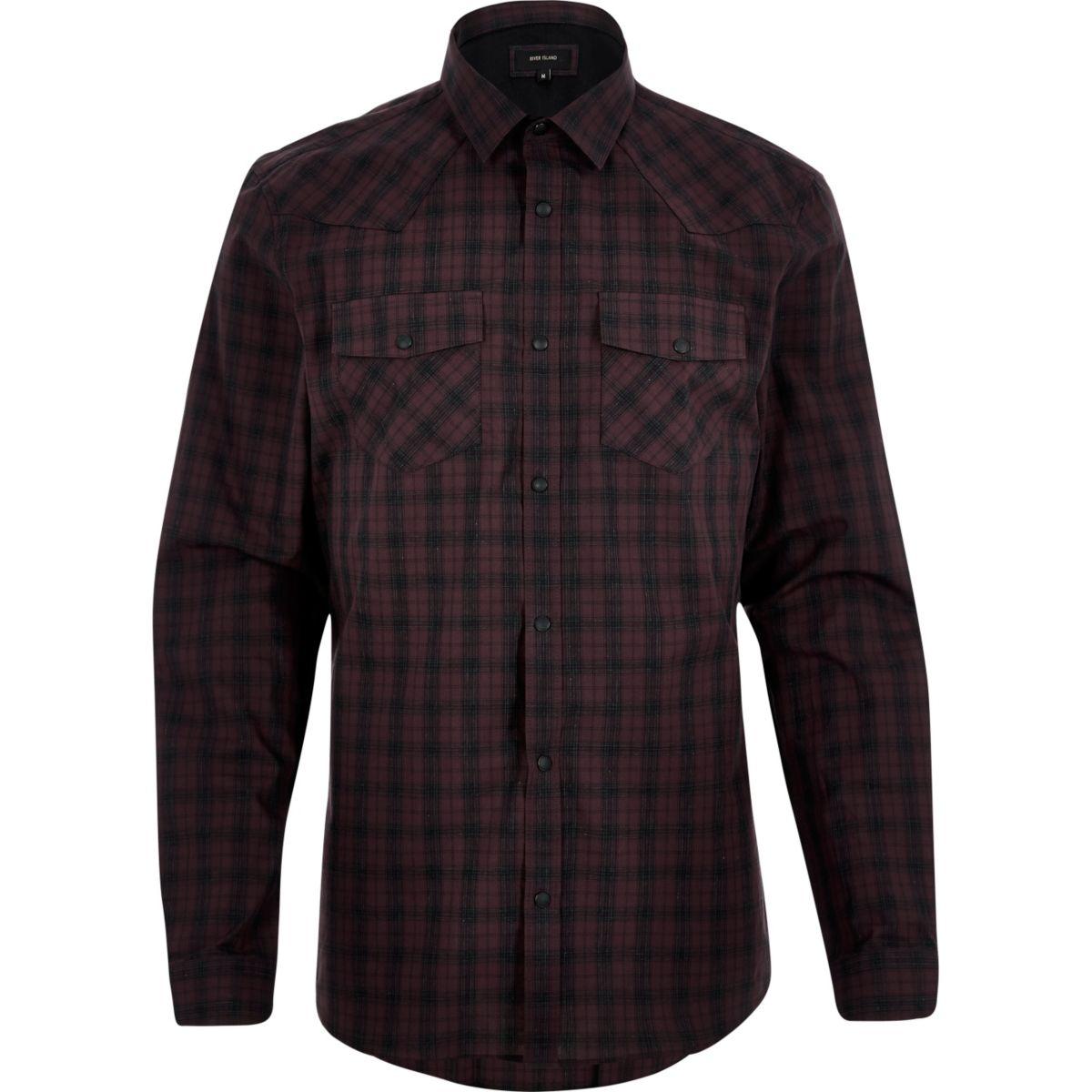 Burgundy check western shirt