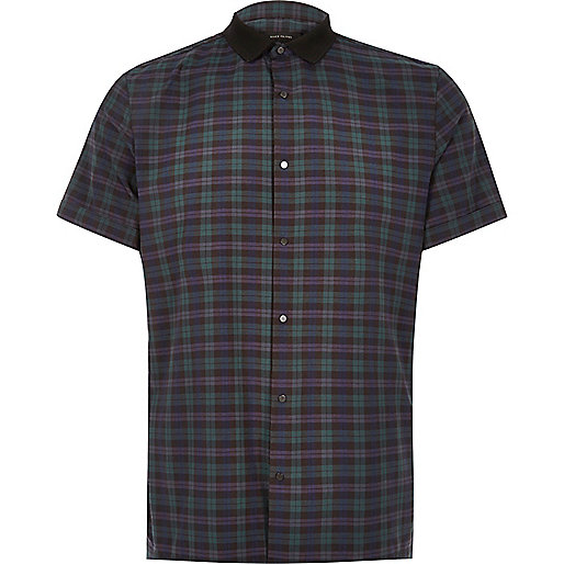 Green check contrast slim fit shirt