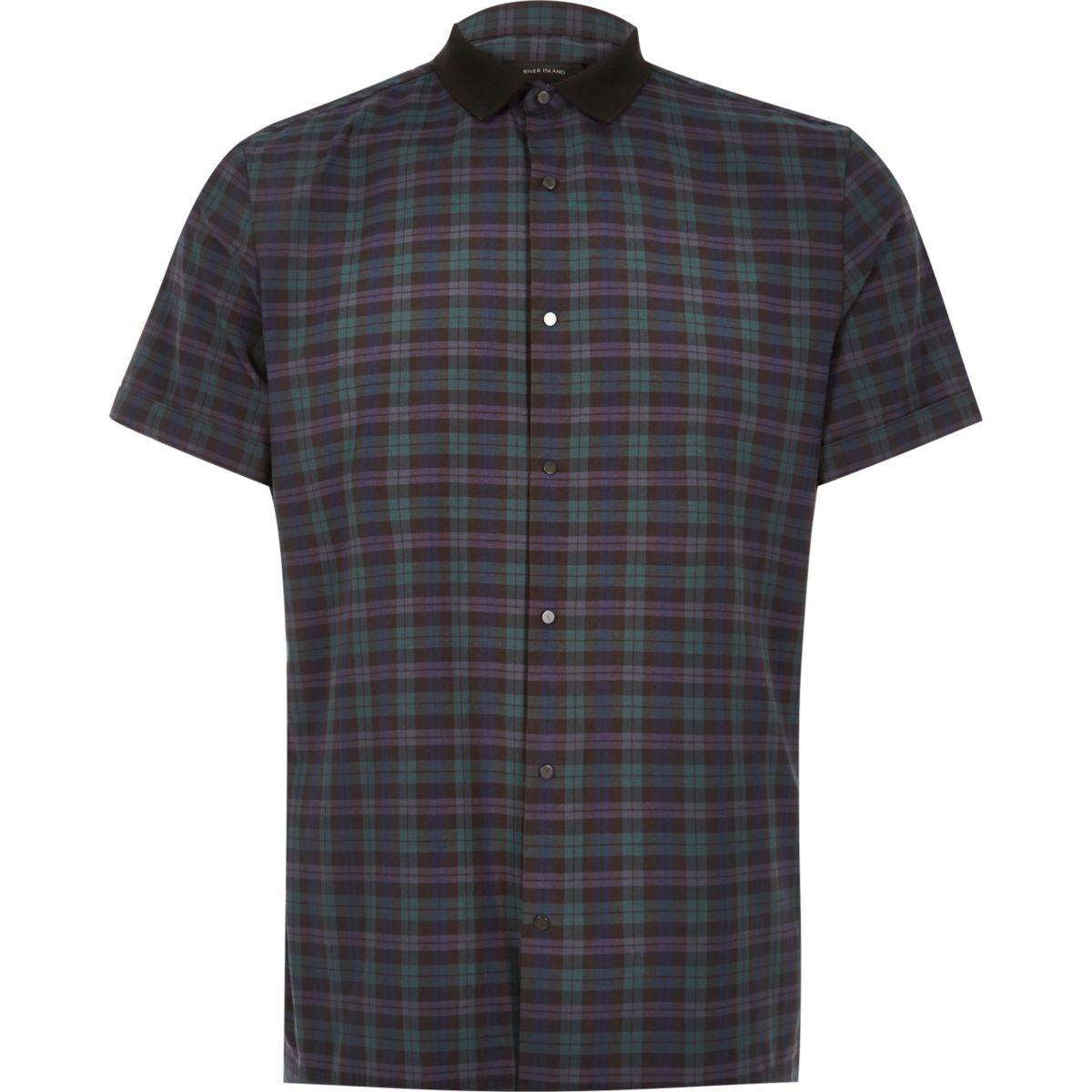 Green check contrast slim fit shirt