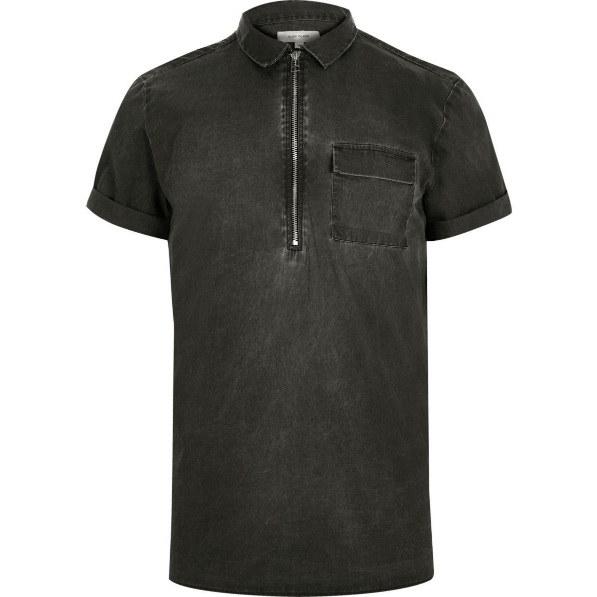 Washed grey zip neck short sleeve shirt