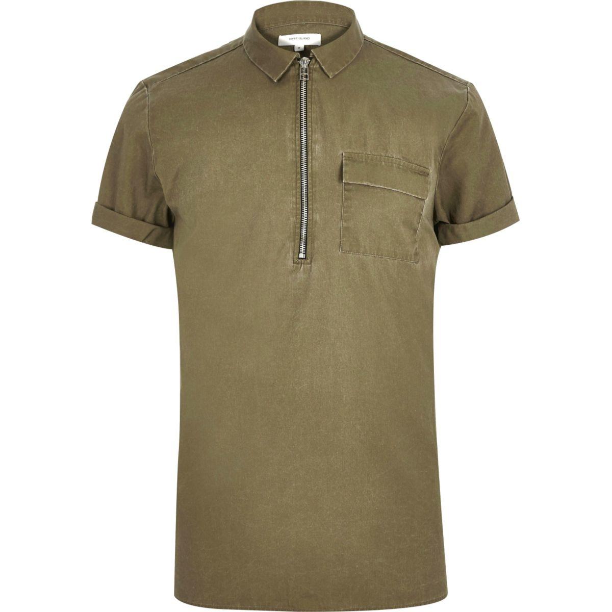 Washed green zip neck short sleeve top