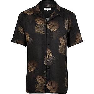 Grey leaf print slim fit shirt