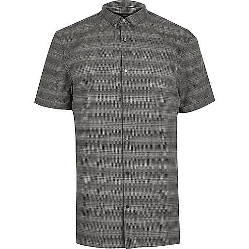 graues schmales hemd mit streifen hemden sale herren. Black Bedroom Furniture Sets. Home Design Ideas