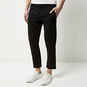 Black stretch cropped slim chino trousers