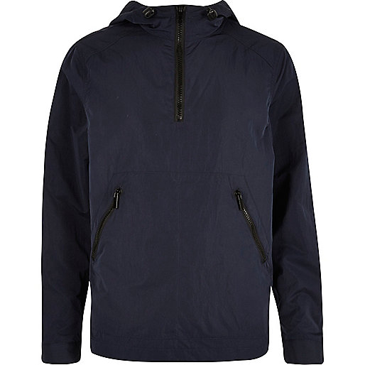 Navy zipped mesh jacket