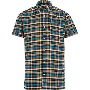 Blue check short sleeve flannel shirt
