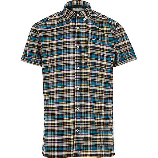 Blue check short sleeve flannel shirt