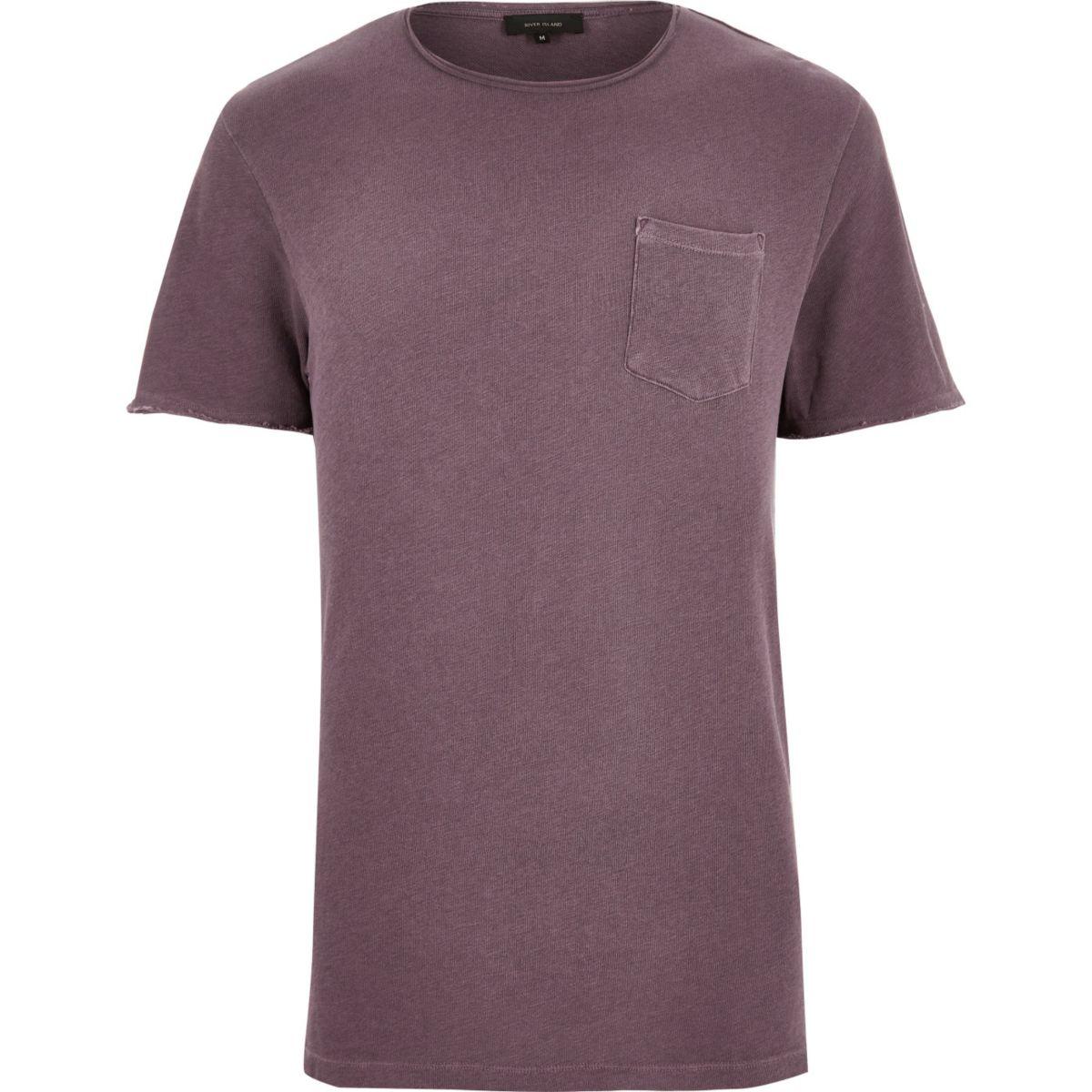 Red raw hem t-shirt