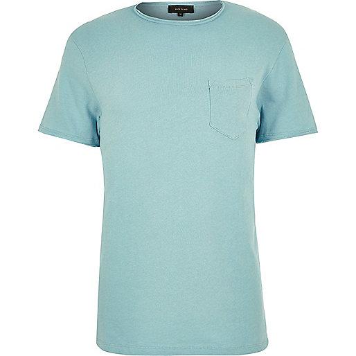 Mint green raw hem t-shirt