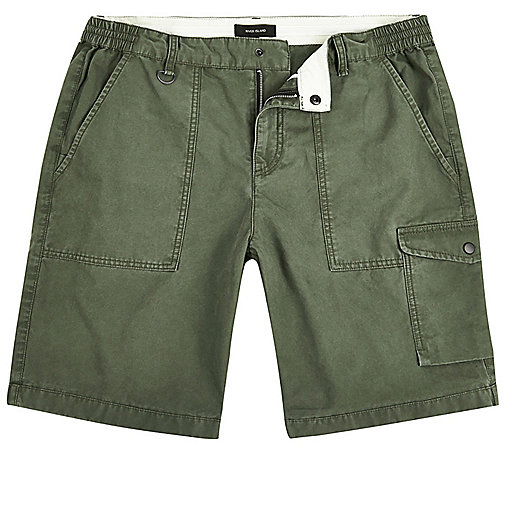 Green slim fit cargo shorts