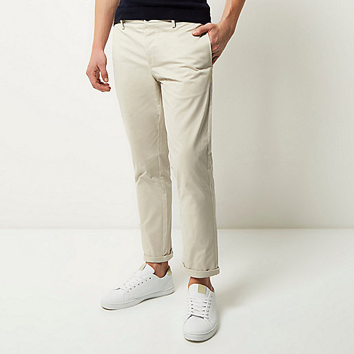 Grey stretch cropped slim chino pants
