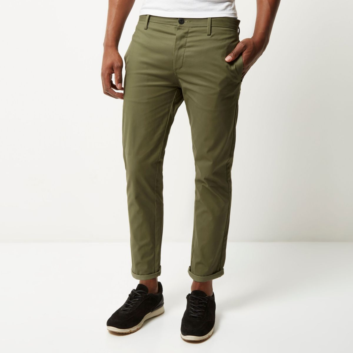 Green stretch cropped slim chino pants