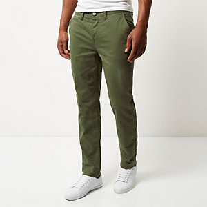 Green tapered chino pants