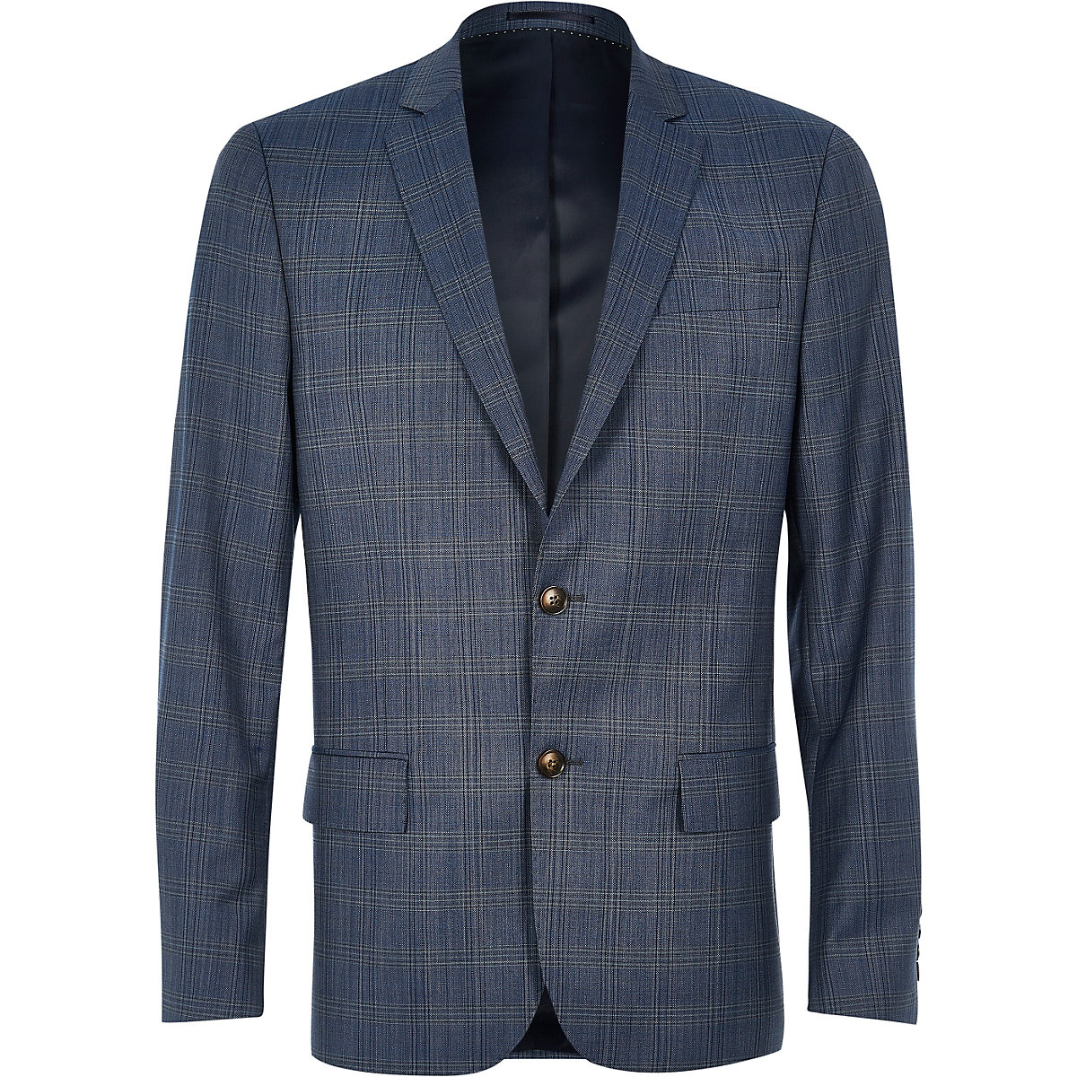 Blue checked slim Travel Suit jacket