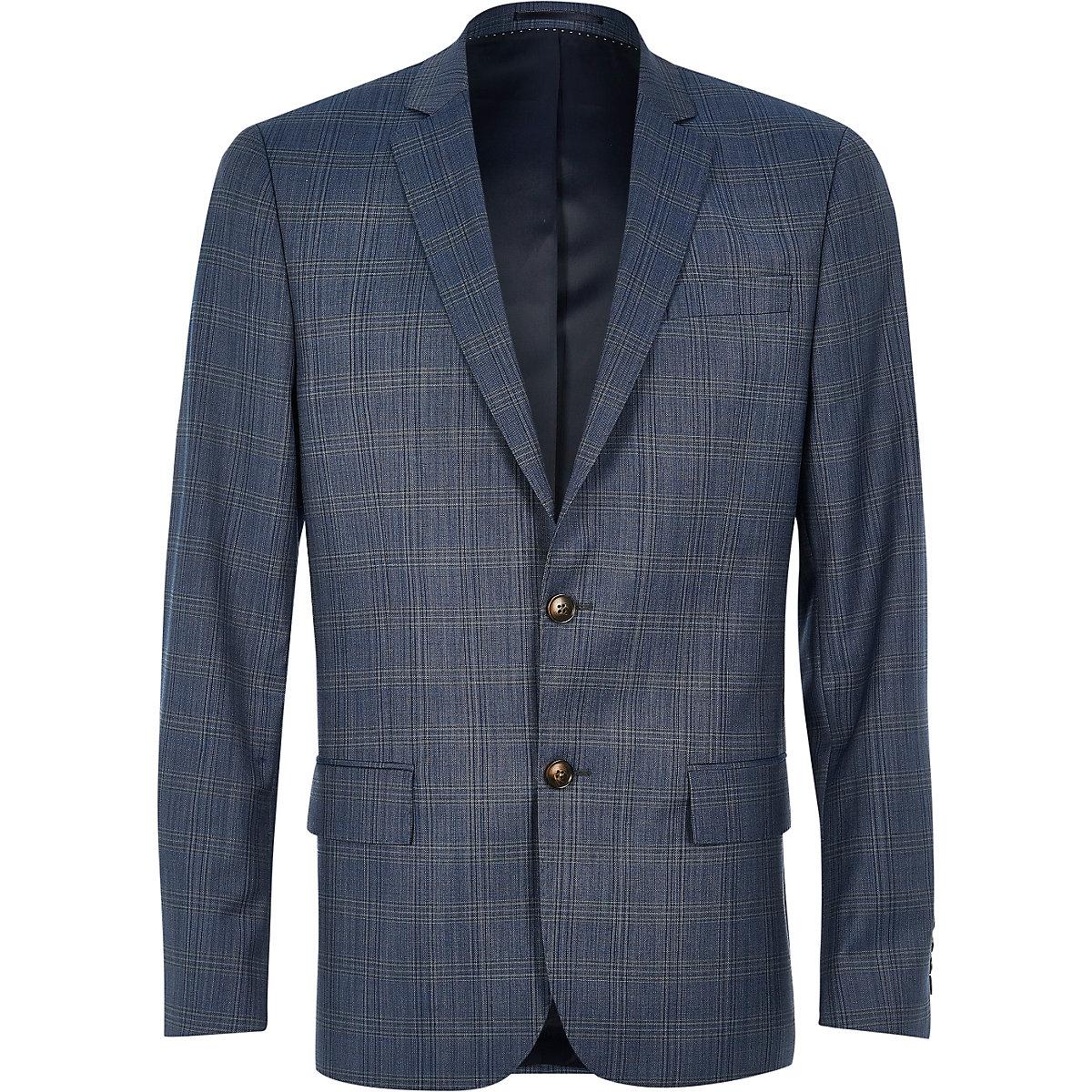 Veste de costume Travel slim bleue à carreaux