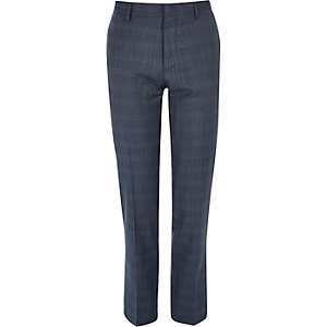 Blue checked slim Travel Suit trousers