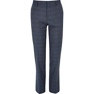 Pantalon de costume Travel bleu à carreaux coupe slim