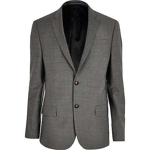 Grey slim Travel Suit jacket