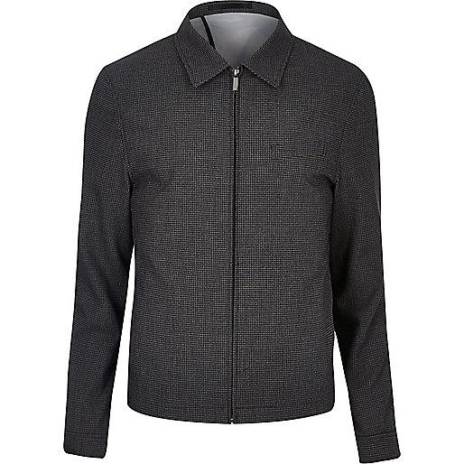 Veste de costume à carreaux Vichy noire