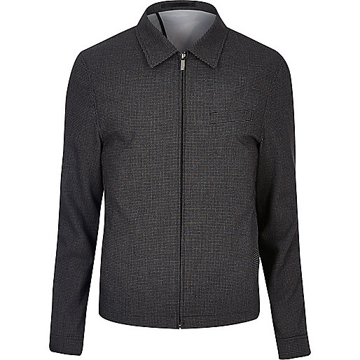 Veste de costume ajustée en vichy noir