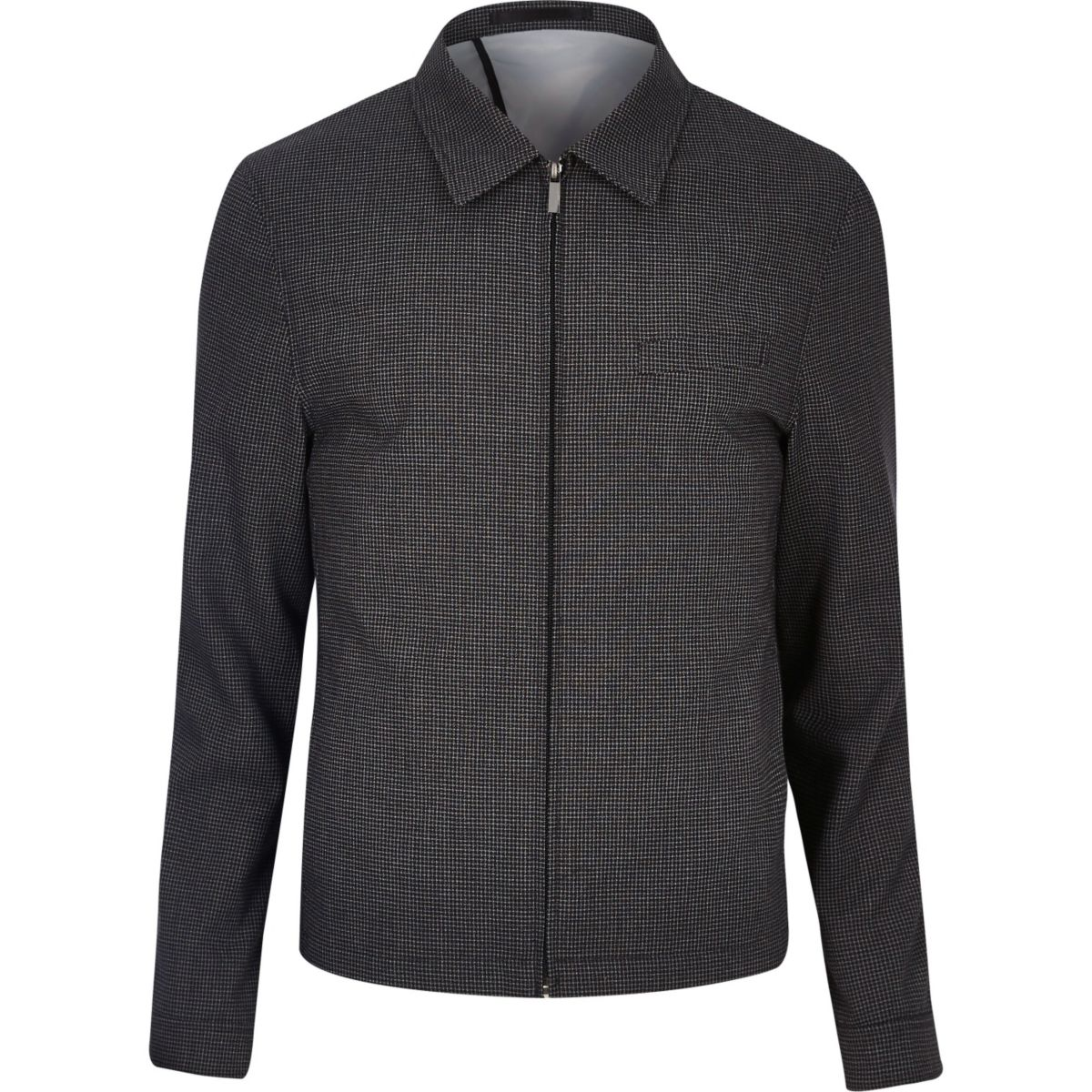 Black gingham skinny suit jacket
