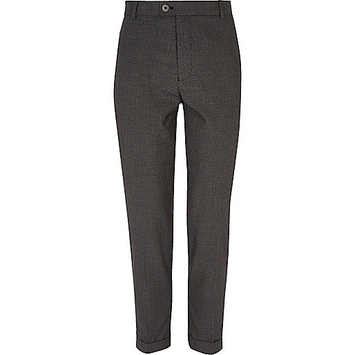 Black gingham skinny suit trousers