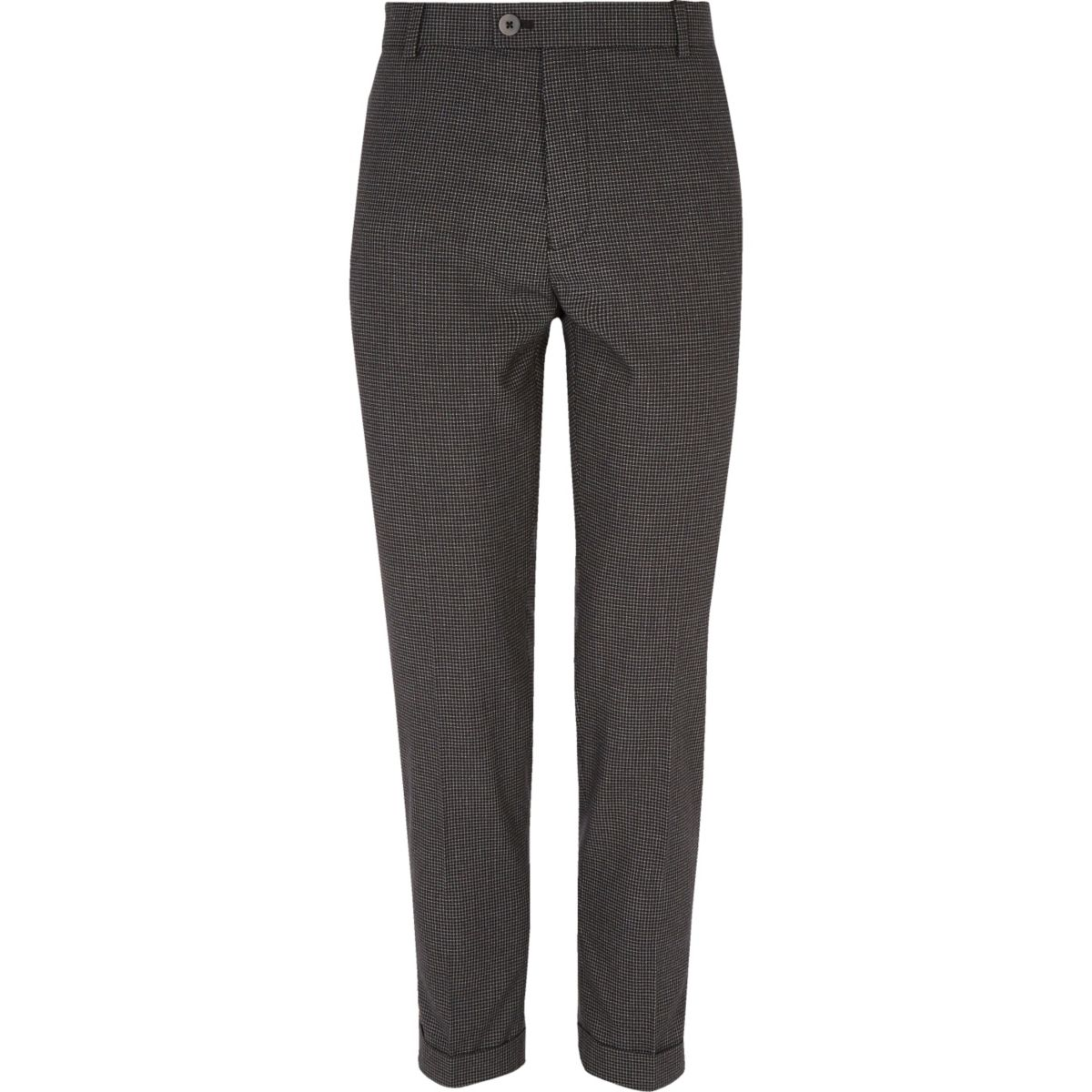 Black gingham skinny suit trousers