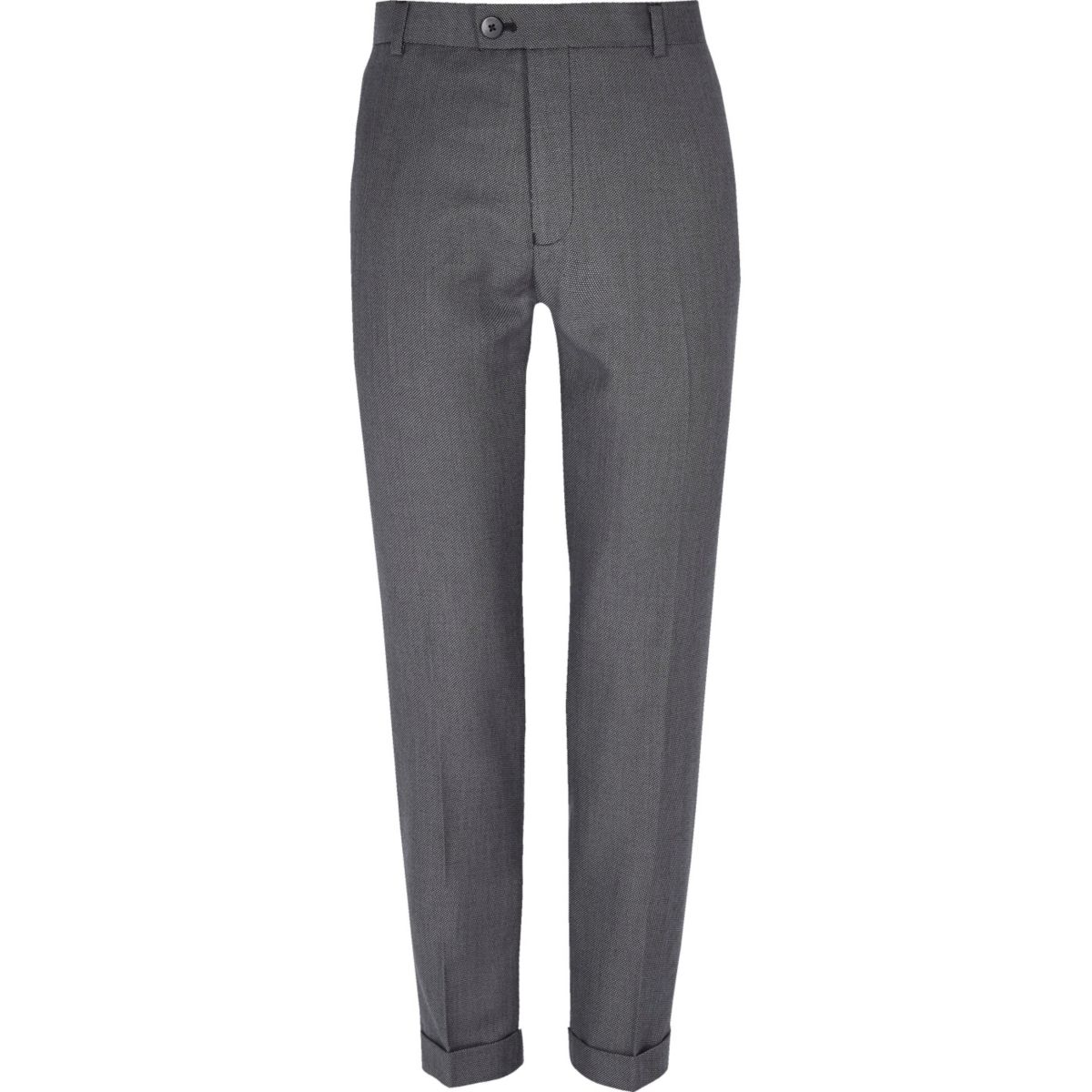 Grey textured skinny suit trousers