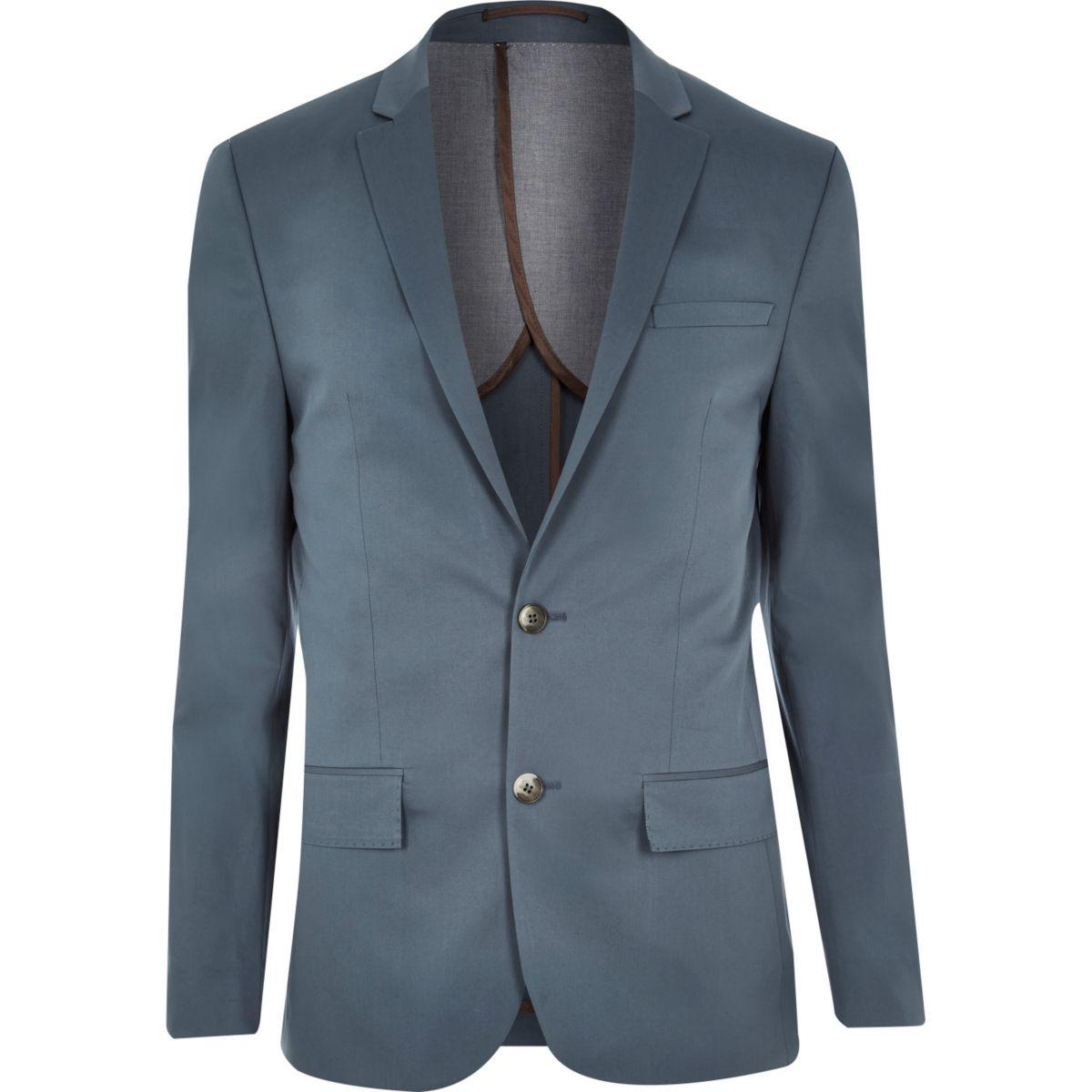 Blauw skinny colbert