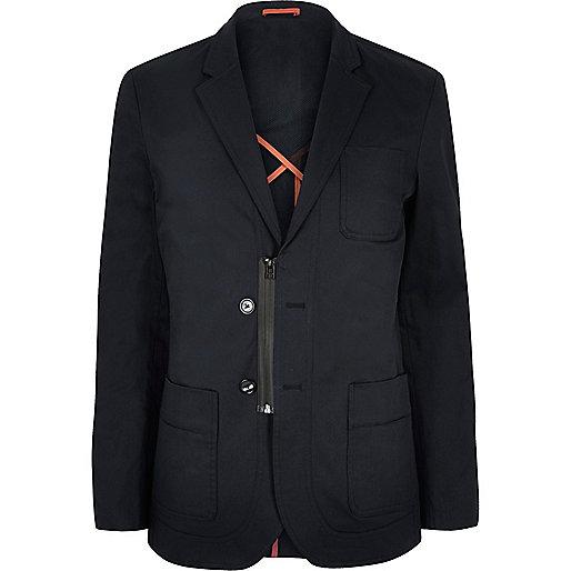 Navy Lou Dalton zip blazer