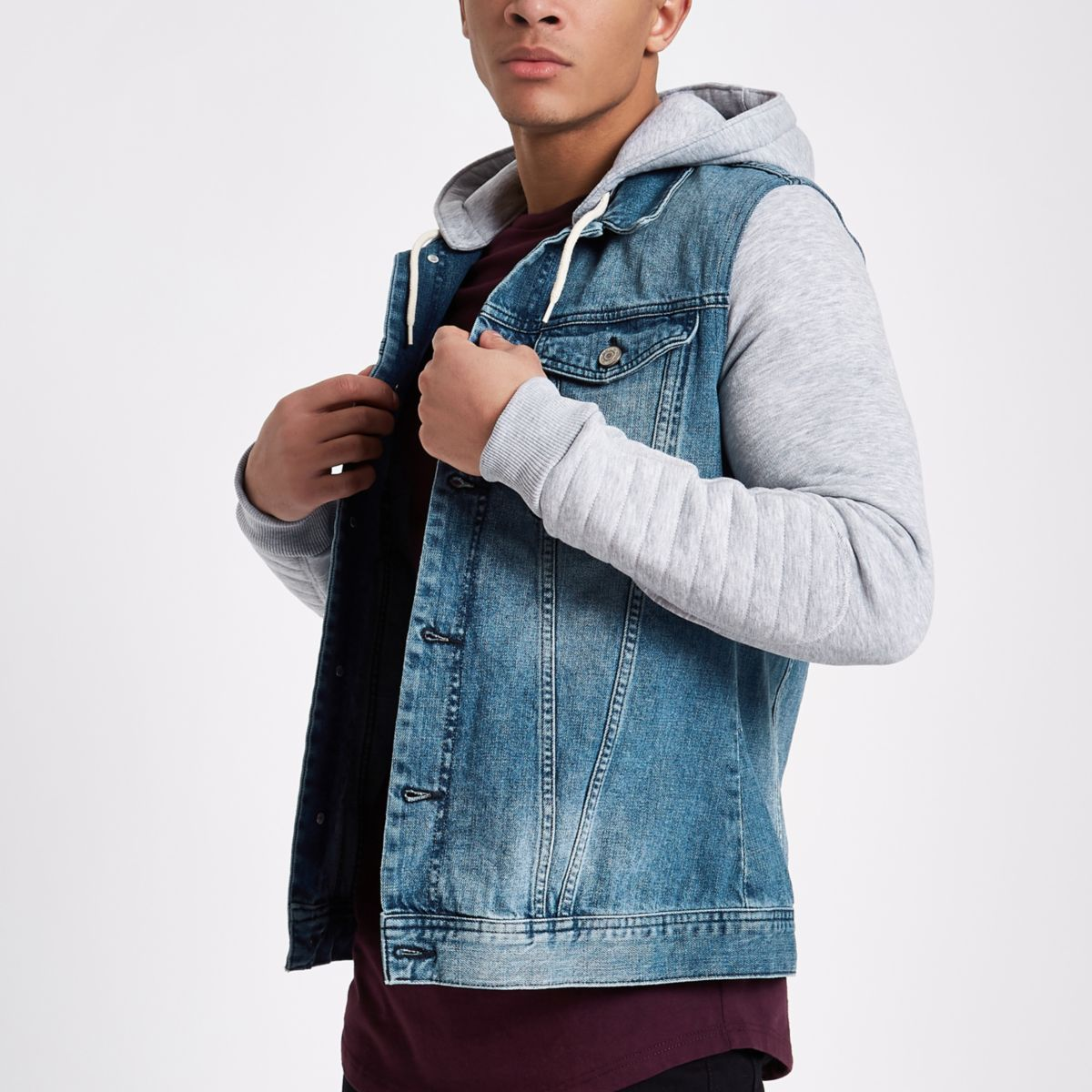 Veste en jean à capuche en jersey bleue