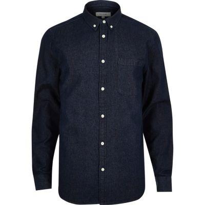 Dark blue wash denim overhemd
