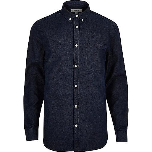 Dark blue wash denim shirt