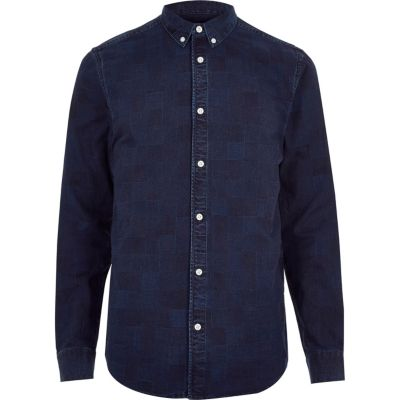 Dark blue wash geruit denim overhemd