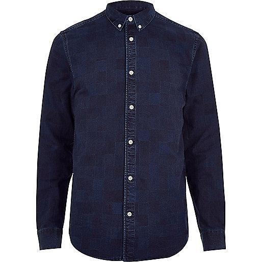 Dark blue wash check denim shirt