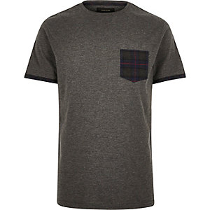 Grey check pocket t-shirt