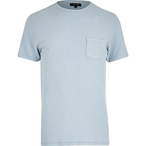 Blue textured crew neck t-shirt
