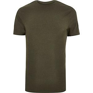 T-shirt vert kaki à coupe ajustée