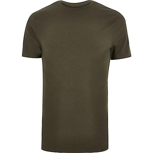 Khaki green muscle fit T-shirt