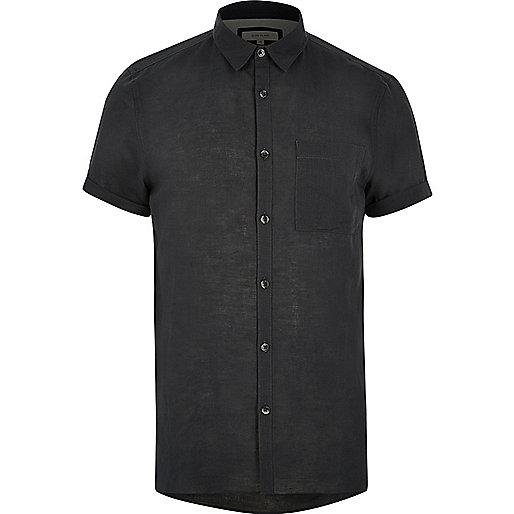 Chemise en lin majoritaire grise à manches courtes