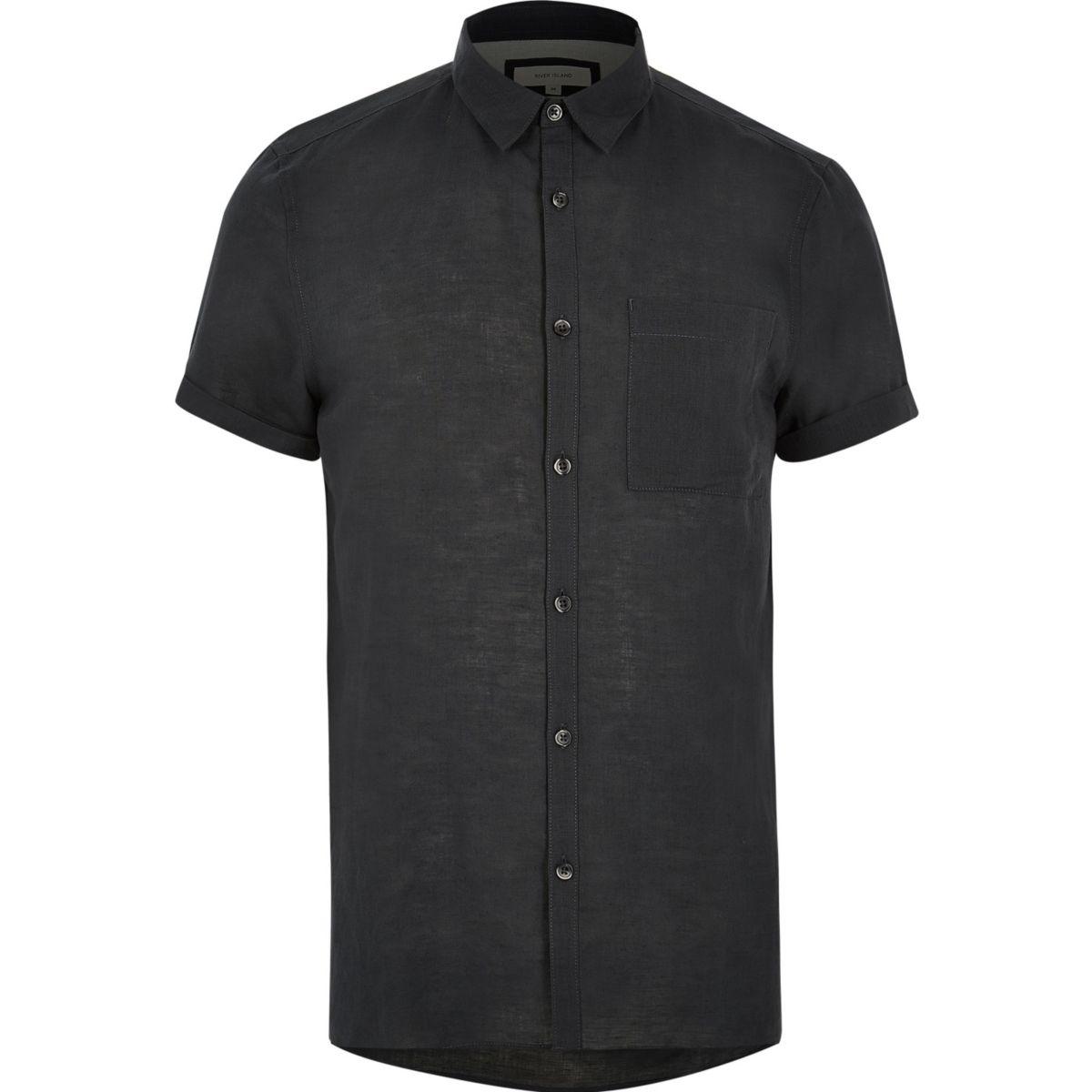 Grey linen-rich short sleeve shirt