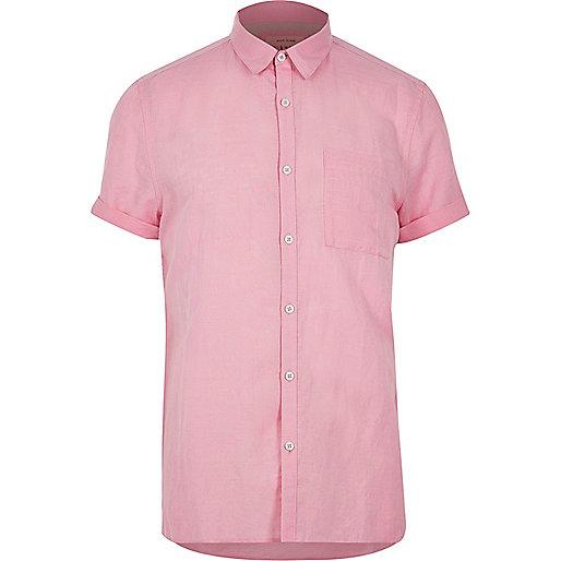 Pinkes Kurzarmhemd mit Leinenanteil