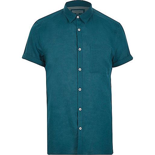 Blaues Kurzarmhemd mit hohem Leinenanteil
