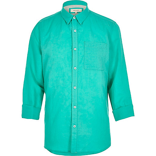 Turquoise linen-rich shirt