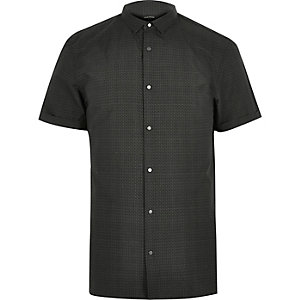 Dark green print short sleeve shirt